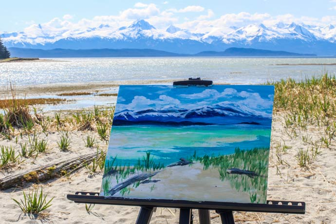 A painting created by your guide, Lindsay, of Eagle Beach.