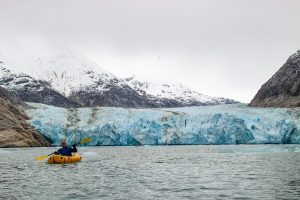 Kokopelli Packrafts Castaway XL in front of Dawes Glacier in Endicott Arm